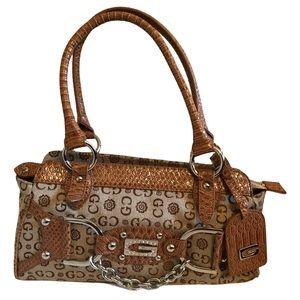 Gussaci Brown Leather Canvas Monogram Hobo Bag